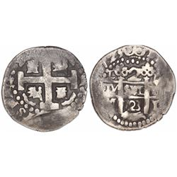 Lima, Peru, cob 2 reales Royal, 1723M, rare.