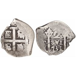 Lima, Peru, cob 2 reales, 1731N.