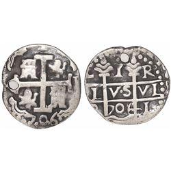 Lima, Peru, cob 1 real Royal, 1706R, rare.