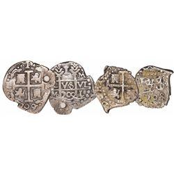 Lot of 2 Lima, Peru, small silver cobs: 1R 1709/8M (rare) and 1/2R 1708.