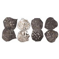 Lot of 4 Lima, Peru, cob 1/2R, 1725, Louis I, rare.