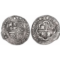 "Potosi, Bolivia, cob 8 reales, Philip II, assayer B (2nd period). ""Great Module."""