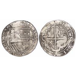 Potosi, Bolivia, cob 8 reales, Philip II, assayer C under erasure, very rare.