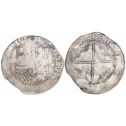 Potosi, Bolivia, cob 8 reales, Philip II, assayer B (early 3rd period).