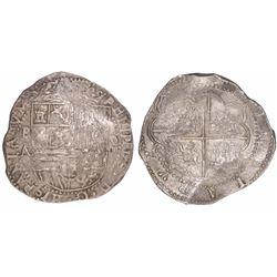 "Potosi, Bolivia, cob 8 reales, Philip II, assayer A, denomination as ""o-VIIII""."