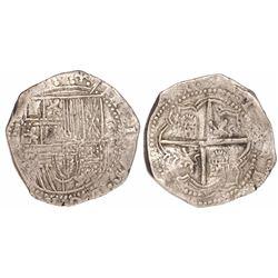 Potosi, Bolivia, cob 8 reales, Philip II, assayer not visible (possibly A or A/B).