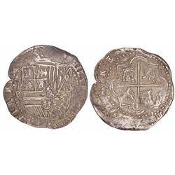 Potosi, Bolivia, cob 8 reales, Philip II, assayer RL, ex-Americas collection.