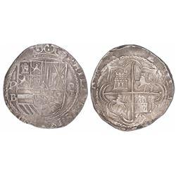 Potosi, Bolivia, cob 8 reales, Philip II, assayer B (5th period), borders of x's.