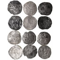 Lot of 6 Potosi, Bolivia, cob 8 reales, Philip II, assayer B (various periods).