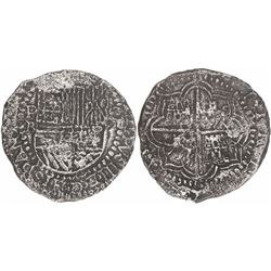Potosi, Bolivia, cob 8 reales, Philip III, assayer B, rare with king's ordinal visible.