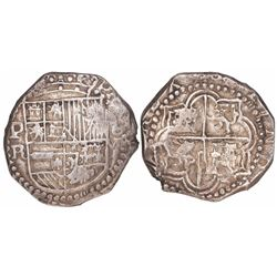 Potosi, Bolivia, cob 8 reales, Philip III, assayer R (curved leg), ex-Karon.