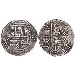 """Potosi, Bolivia, 8 reales, Philip III assayer Q, with """"1619"""" date tooled into legend on reverse."""