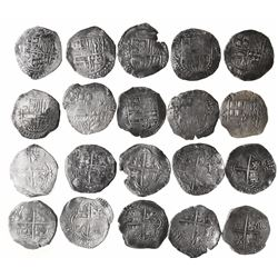 Lot of 10 Potosi, Bolivia, cob 8 reales, Philip III, assayers Q, M and T (where visible).