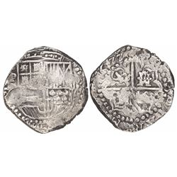 Potosi, Bolivia, cob 8 reales, (1)622, assayer not visible (T or P), lions and castles transposed in