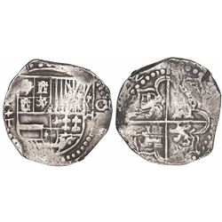 Potosi, Bolivia, cob 8 reales, (16)22T, lions and castles transposed in both shield and cross, rare.