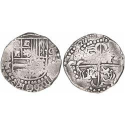 Potosi, Bolivia, cob 8 reales, (16)ZIII (1623), assayer T, quadrants of cross transposed, very rare.