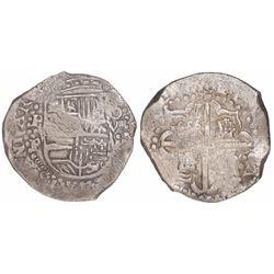 Potosi, Bolivia, cob 8 reales, Philip IV, assayer •P (early 1620s), quadrants of cross transposed.