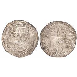 Potosi, Bolivia, cob 8 reales, assayer P (early 1620s), quadrants of cross transposed.