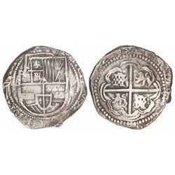 Potosi, Bolivia, cob 8 reales, 1629T, fine-dot borders, denomination 8.