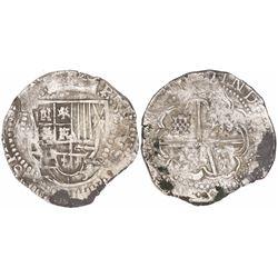 Potosi, Bolivia, cob 8 reales, Philip IV, assayer T (ca. 1629), fine-dot borders.
