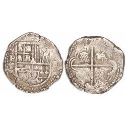 Potosi, Bolivia, cob 8 reales, Philip IV, assayer T (ca. 1629), fine-dot borders, denomination 8.