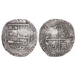 Potosi, Bolivia, cob 8 reales, 1630T, •P-T• to left, x-8-x to right.