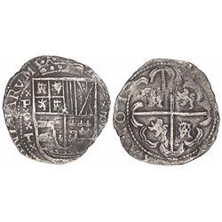 Potosi, Bolivia, cob 8 reales, Philip IV, assayer T, x-P-x-T-x to left, x-8-x to right (ca. 1630).