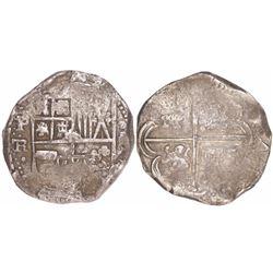 Potosi, Bolivia, cob 8 reales, Philip IV, assayer TR (1630s).
