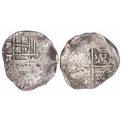 Potosi, Bolivia, cob 8 reales, Philip IV, assayer FR (early 1640s), rare.