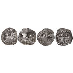 Lot of 2 Potosi, Bolivia, cob 8 reales, Philip IV, assayers T and TR (early 1640s).