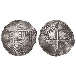 Potosi, Bolivia, cob 8 reales, 1647P, extremely rare.