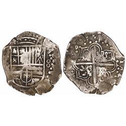 Potosi, Bolivia, cob 8 reales, 1647Z/?, rare.