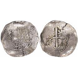 Potosi, Bolivia, cob 8 reales, (1647-9)Z, no countermark (rare).