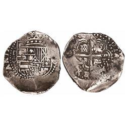 Potosi, Bolivia, cob 8 reales, (1650-1)O, no countermark (rare).
