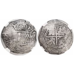 Potosi, Bolivia, cob 8 reales, 16(51-2)E, with crowned-(?) countermark on cross side, encapsulated N