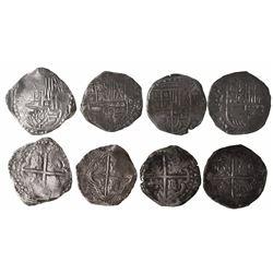 Lot of 4 Potosi, Bolivia, cob 8 reales, Philip IV, assayer T (where visible).