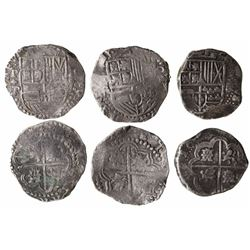 Lot of 3 Potosi, Bolivia, cob 8 reales, Philip III and IV, assayers R (curved-leg), P/T and not visi