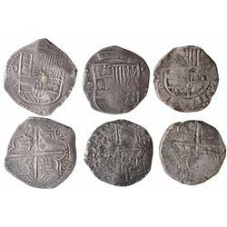 Lot of 3 Potosi, Bolivia, cob 8 reales, Philip III and IV, assayers Q, T and TR.