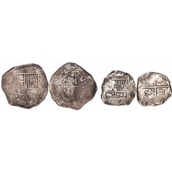 Lot of 2 Potosi, Bolivia, cob 8R and 4R (one each), Philip IV, assayers not visible.