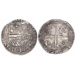 Potosi, Bolivia, cob 4 reales, Philip II, assayer B (1st period), no H in HISPANIARVM.