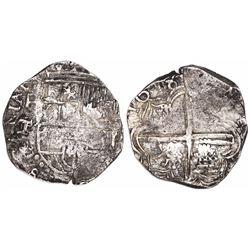 Potosi, Bolivia, cob 4 reales, 1618T/PAL, extremely rare.