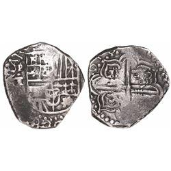 Potosi, Bolivia, cob 4 reales, 1618T, rare.