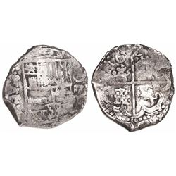 Potosi, Bolivia, cob 4 reales, 1622T, lions and castles transposed in shield and cross, extremely ra