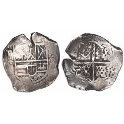 Potosi, Bolivia, cob 4 reales, (1650-1)O, with crowned-L countermark on cross, rare.