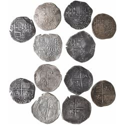 Lot of 6 Potosi, Bolivia, cob 4 reales, Philip II and III, assayers B, Q and T (where visible).
