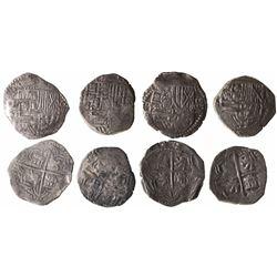 Lot of 4 Potosi, Bolivia, cob 4 reales, Philip II-IV, assayers B, Q and not visible.