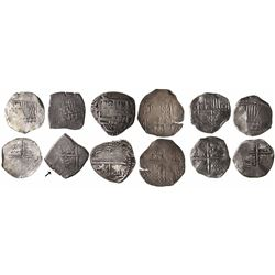 Lot of 6 Potosi, Bolivia, cob 4 reales, Philip III and IV, various assayers (where visible).