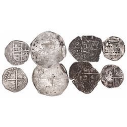 Lot of 4 Potosi, Bolivia, cob minors (one 4R and three 2R) of Philip III and IV, assayers not visibl