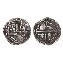 Potosi, Bolivia, cob 2 reales, Philip II, assayer L (1st period).