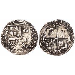 Potosi, Bolivia, cob 2 reales, Philip II, assayer B (early 3rd period).